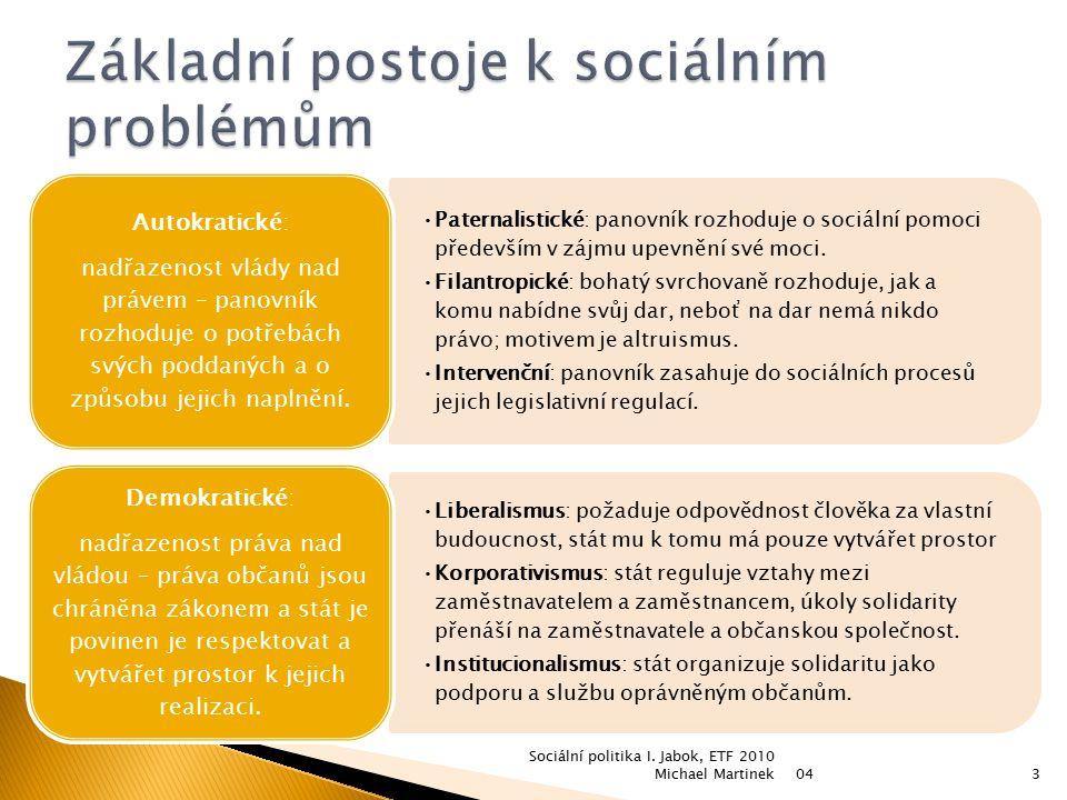 Paternalistické: panovník rozhoduje o sociální pomoci především v zájmu upevnění své moci. Filantropické: bohatý svrchovaně rozhoduje, jak a komu nabí