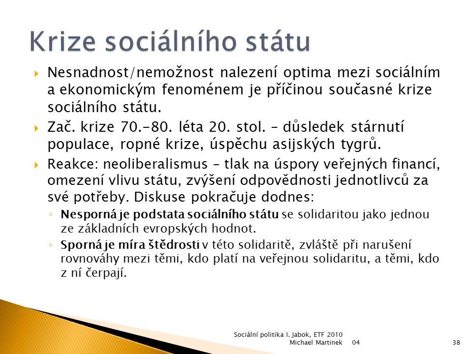  Nesnadnost/nemožnost nalezení optima mezi sociálním a ekonomickým fenoménem je příčinou současné krize sociálního státu.  Zač. krize 70.-80. léta 2