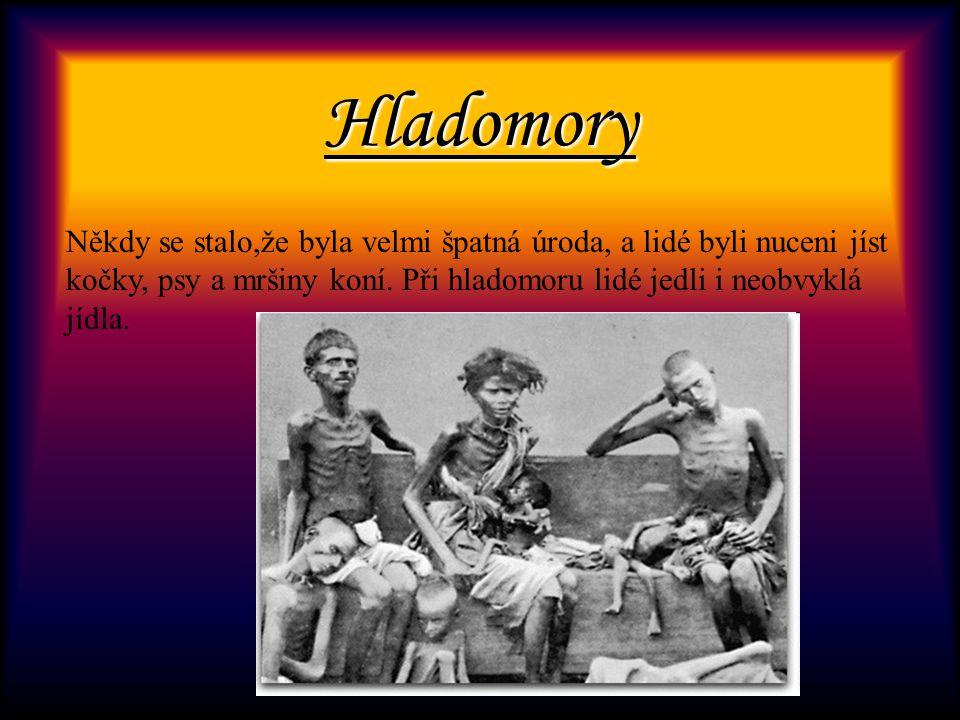 Hladomory Někdy se stalo,že byla velmi špatná úroda, a lidé byli nuceni jíst kočky, psy a mršiny koní.