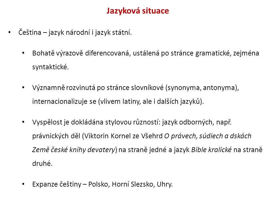 Jazyková situace Čeština – jazyk národní i jazyk státní. Bohatě výrazově diferencovaná, ustálená po stránce gramatické, zejména syntaktické. Významně