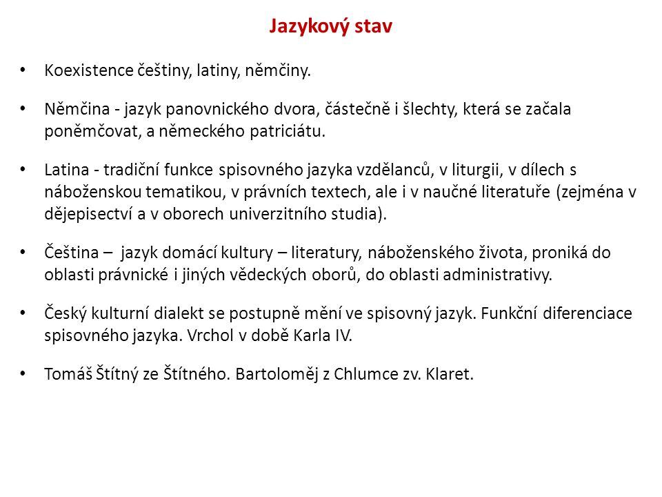 Jazykový stav Koexistence češtiny, latiny, němčiny. Němčina - jazyk panovnického dvora, částečně i šlechty, která se začala poněmčovat, a německého pa