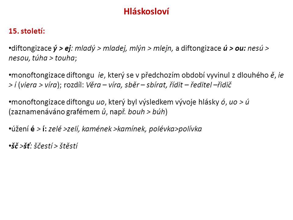 Hláskosloví 15. století: diftongizace ý > ej: mladý > mladej, mlýn > mlejn, a diftongizace ú > ou: nesú > nesou, túha > touha; monoftongizace diftongu