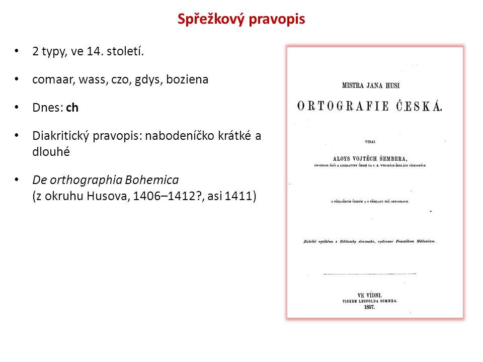 Spřežkový pravopis 2 typy, ve 14. století. comaar, wass, czo, gdys, boziena Dnes: ch Diakritický pravopis: nabodeníčko krátké a dlouhé De orthographia