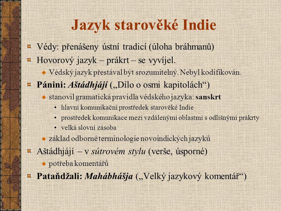 Jazyk starověké Indie Védy: přenášeny ústní tradicí (úloha bráhmanů) Hovorový jazyk – prákrt – se vyvíjel.