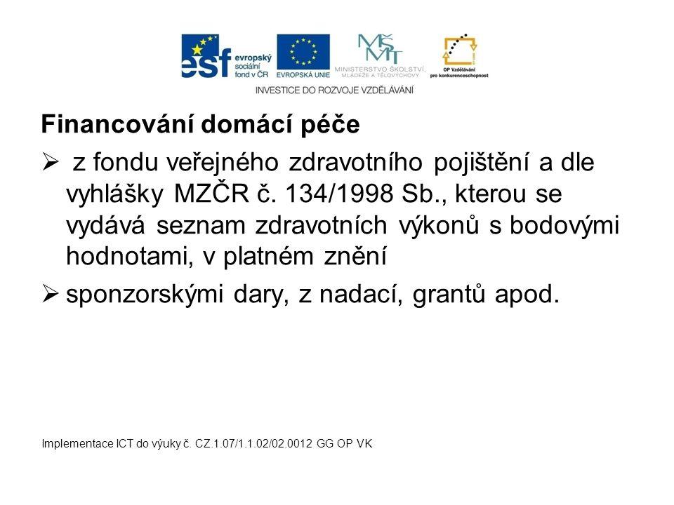Financování domácí péče  z fondu veřejného zdravotního pojištění a dle vyhlášky MZČR č.