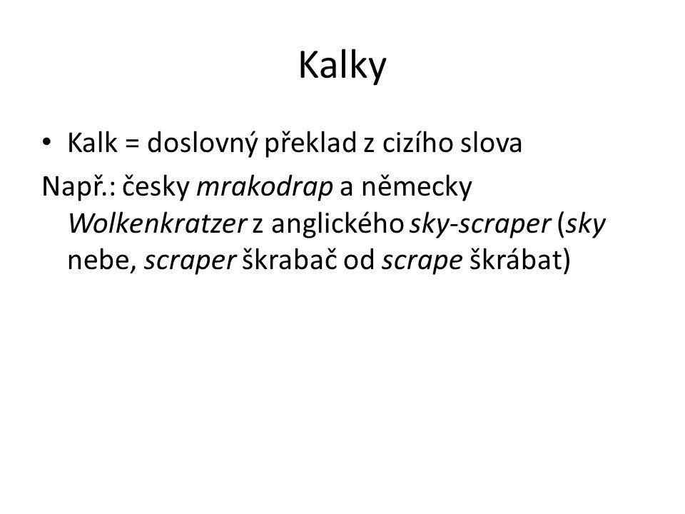 Kalky Kalk = doslovný překlad z cizího slova Např.: česky mrakodrap a německy Wolkenkratzer z anglického sky-scraper (sky nebe, scraper škrabač od scr