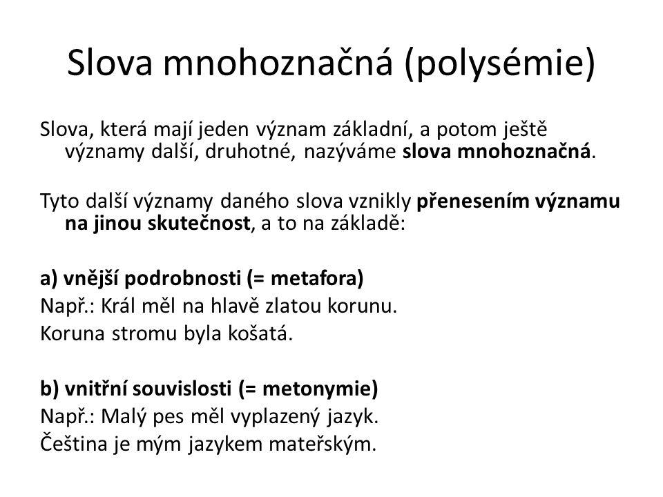 Slova mnohoznačná (polysémie) Slova, která mají jeden význam základní, a potom ještě významy další, druhotné, nazýváme slova mnohoznačná. Tyto další v