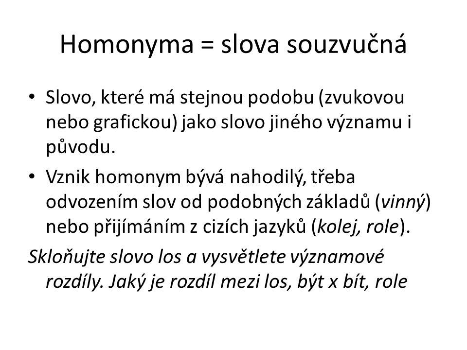 Homonyma = slova souzvučná Slovo, které má stejnou podobu (zvukovou nebo grafickou) jako slovo jiného významu i původu. Vznik homonym bývá nahodilý, t