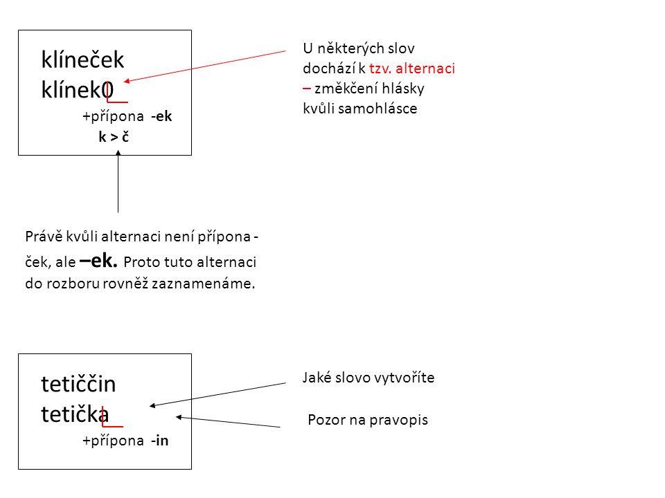 klíneček klínek0 +přípona -ek U některých slov dochází k tzv. alternaci – změkčení hlásky kvůli samohlásce Právě kvůli alternaci není přípona - ček, a