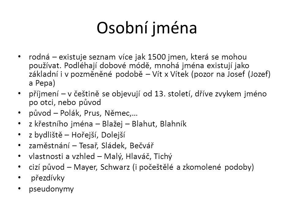 Osobní jména rodná – existuje seznam více jak 1500 jmen, která se mohou používat. Podléhají dobové módě, mnohá jména existují jako základní i v pozměn