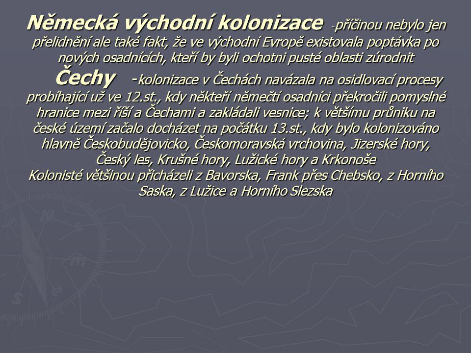 Právo ► Především šlo o tzv.Ius teutonicum, který byl jakýmsi shrnutím sídelních práv, které s sebou přinesli holandští a franští osadníci ► Ius teutonicum zajišťoval obyvatelům osobní svobodu, právo na samosprávu (k osobě rychtáře se obvykle vázalo i právo soudnické) ► Hlavním aspektem byl dědičný nárok na osídlenou půdu a dále individuální práva na mlýny, krčmy, provádění určitých řemesel, právo lovu, rybolovu nebo osvobození od určitých daní a desátků ► Rychtář- představeným městské či vesnické obce.