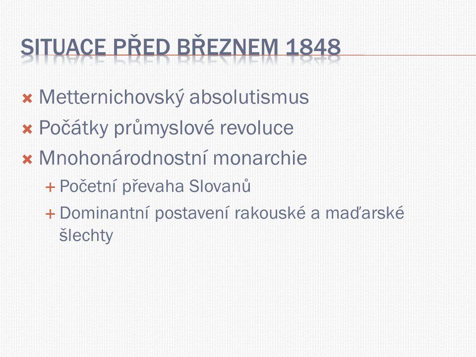  Metternichovský absolutismus  Počátky průmyslové revoluce  Mnohonárodnostní monarchie  Početní převaha Slovanů  Dominantní postavení rakouské a