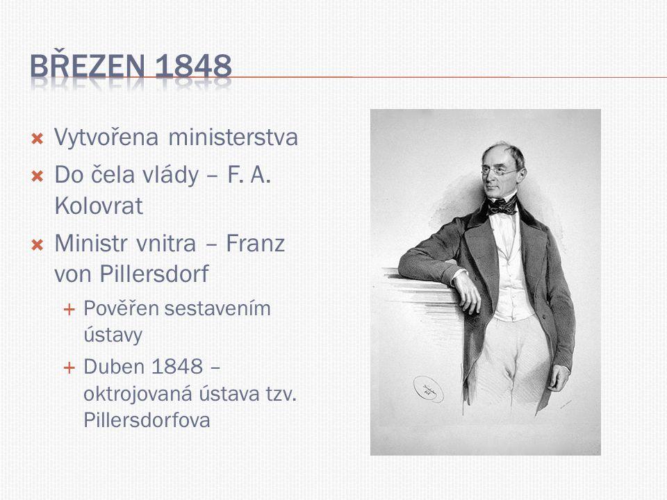  Vytvořena ministerstva  Do čela vlády – F. A. Kolovrat  Ministr vnitra – Franz von Pillersdorf  Pověřen sestavením ústavy  Duben 1848 – oktrojov