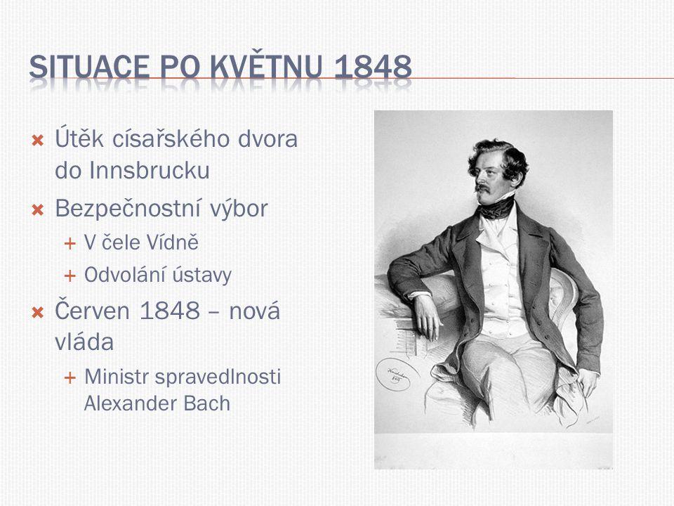  Útěk císařského dvora do Innsbrucku  Bezpečnostní výbor  V čele Vídně  Odvolání ústavy  Červen 1848 – nová vláda  Ministr spravedlnosti Alexand