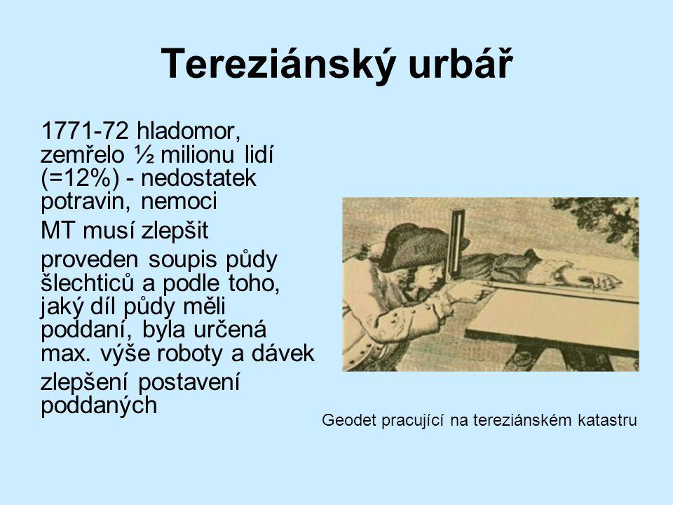 Tereziánský urbář 1771-72 hladomor, zemřelo ½ milionu lidí (=12%) - nedostatek potravin, nemoci MT musí zlepšit proveden soupis půdy šlechticů a podle toho, jaký díl půdy měli poddaní, byla určená max.