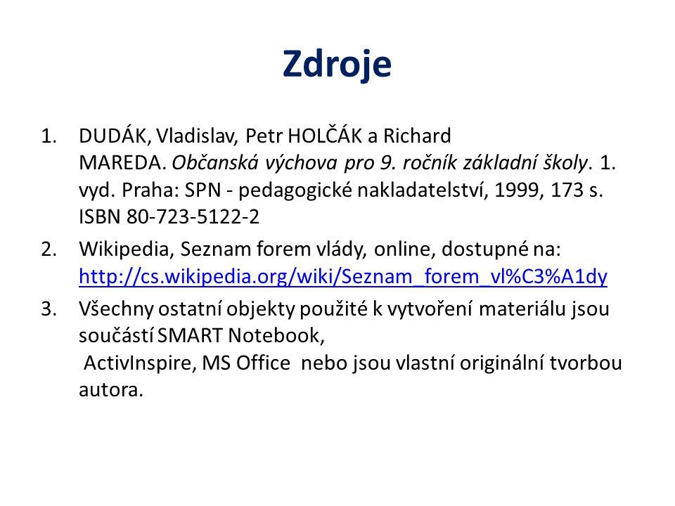 Zdroje 1.DUDÁK, Vladislav, Petr HOLČÁK a Richard MAREDA.