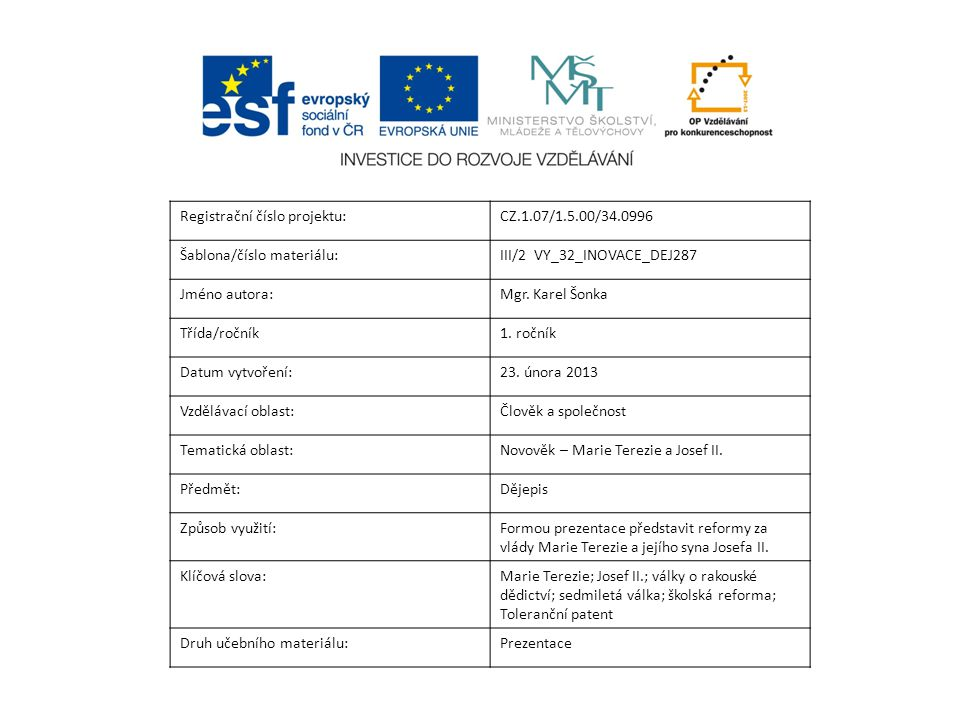 Registrační číslo projektu:CZ.1.07/1.5.00/34.0996 Šablona/číslo materiálu:III/2 VY_32_INOVACE_DEJ287 Jméno autora:Mgr. Karel Šonka Třída/ročník1. ročn