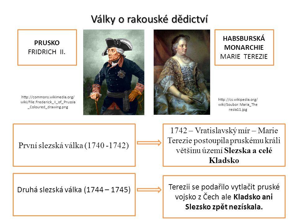 Války o rakouské dědictví První slezská válka (1740 -1742) PRUSKO FRIDRICH II. HABSBURSKÁ MONARCHIE MARIE TEREZIE 1742 – Vratislavský mír – Marie Tere