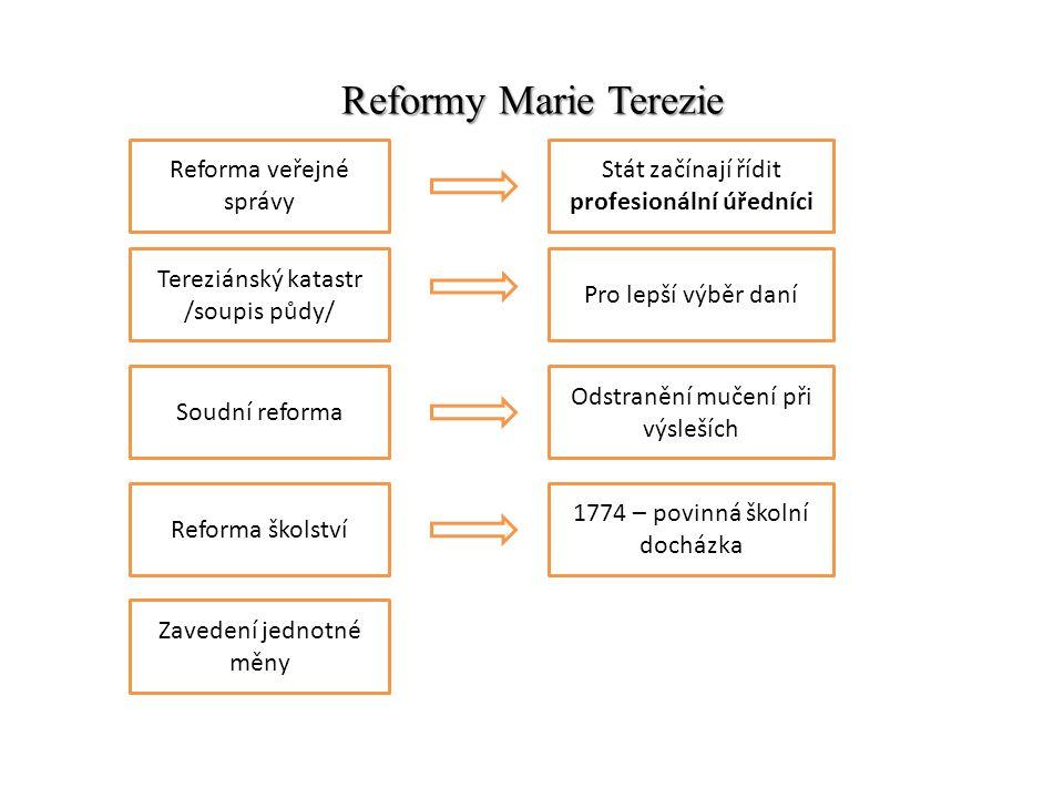 Reformy Marie Terezie Reforma veřejné správy Stát začínají řídit profesionální úředníci Tereziánský katastr /soupis půdy/ Pro lepší výběr daní Soudní