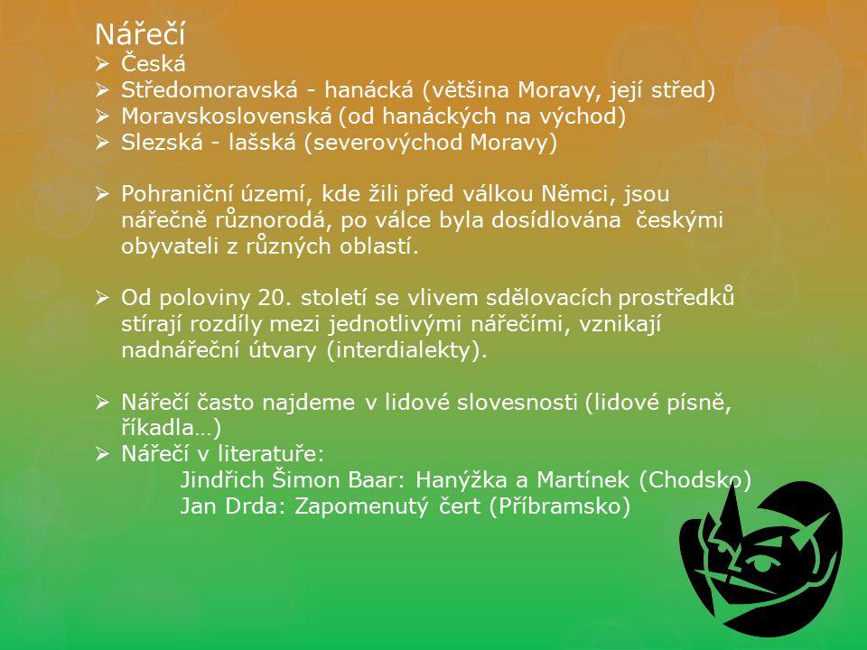 Nářečí  Česká  Středomoravská - hanácká (většina Moravy, její střed)  Moravskoslovenská (od hanáckých na východ)  Slezská - lašská (severovýchod M
