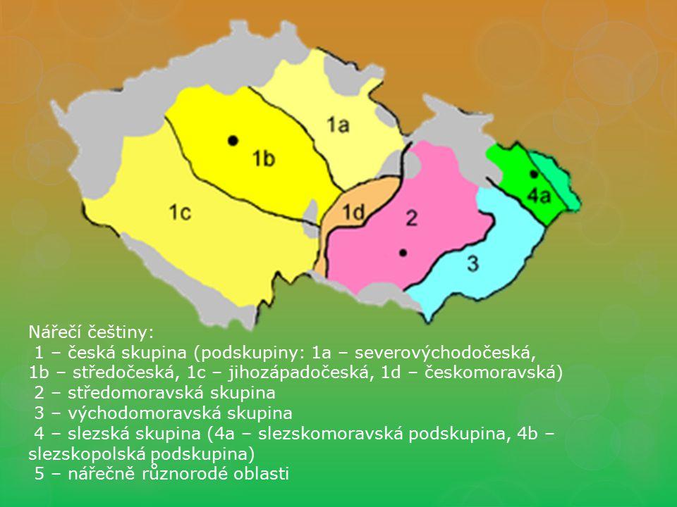 Nářečí češtiny: 1 – česká skupina (podskupiny: 1a – severovýchodočeská, 1b – středočeská, 1c – jihozápadočeská, 1d – českomoravská) 2 – středomoravská