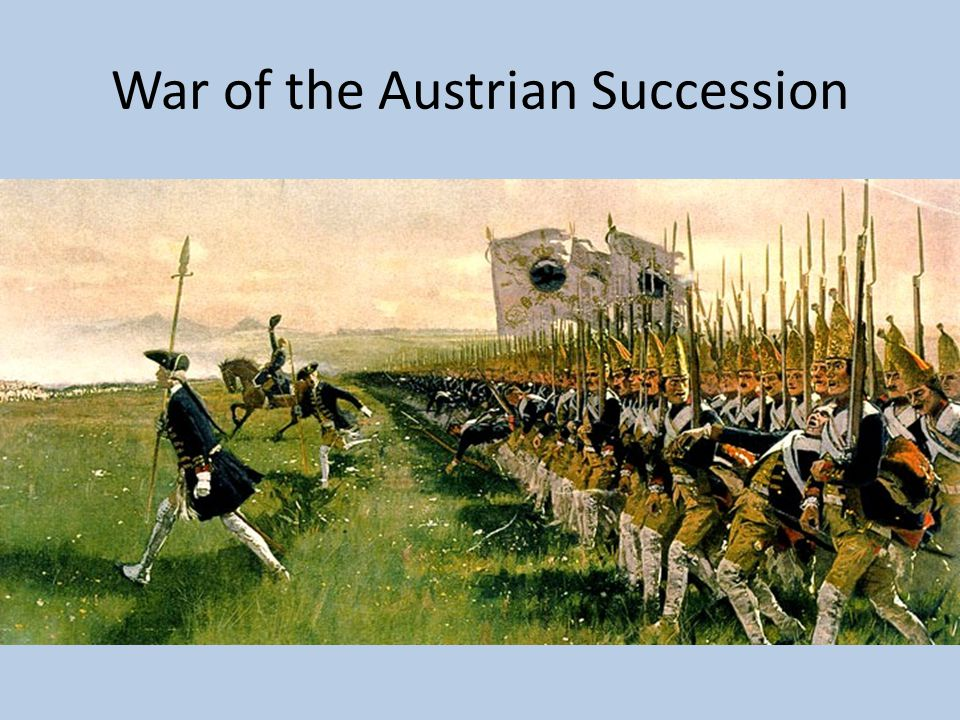 War of the Austrian Succession Austria Great Britain Dutch Republic Kingdom of Sardinia Saxony France + Prussia Bavaria X including First and Second Silesian Wars – Maria Theresa lost them