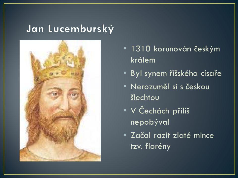 1310 korunován českým králem Byl synem říšského císaře Nerozuměl si s českou šlechtou V Čechách příliš nepobýval Začal razit zlaté mince tzv.