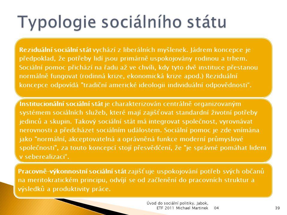 Typ sociálního státuReziduálníVýkonovýInstitucionální CharakteristikaLiberálníKonzervativní Sociálně- demokratický Odpovědnost státu za uspokojování potřeb MinimálníOptimálníMaximální Populace pokrytá povinně poskytovanými službami MenšinaVětšinaVšichni Výše příspěvkůNízkáStředníVysoká Část národního důchodu určená pro soc.