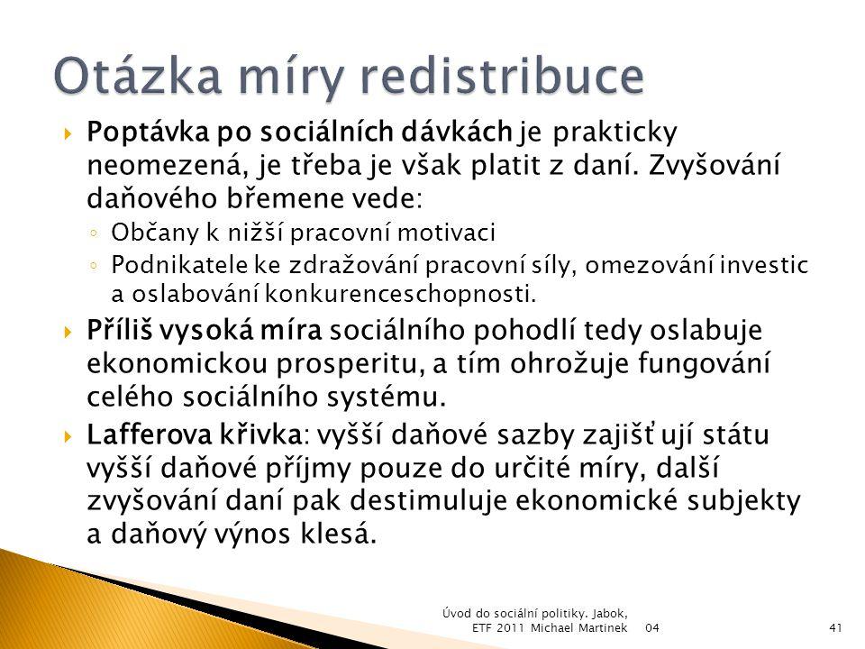 04 Úvod do sociální politiky. Jabok, ETF 2011 Michael Martinek42