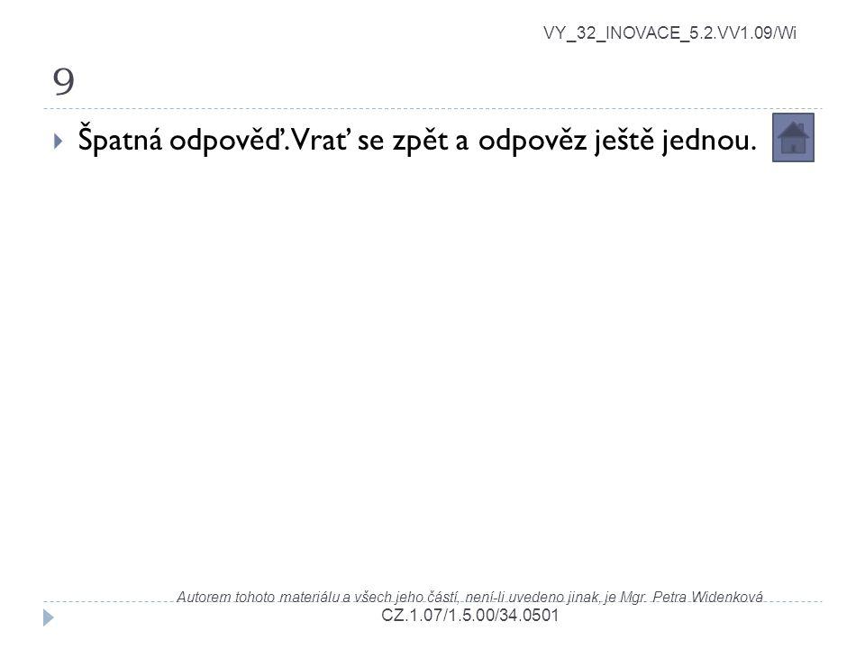 9 VY_32_INOVACE_5.2.VV1.09/Wi Autorem tohoto materiálu a všech jeho částí, není-li uvedeno jinak, je Mgr. Petra Widenková CZ.1.07/1.5.00/34.0501  Špa