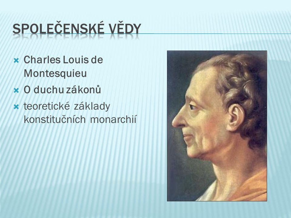  Charles Louis de Montesquieu  O duchu zákonů  teoretické základy konstitučních monarchií