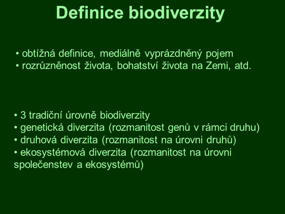 Výskyt biodiverzity biodiverzita není na Zemi rozložená rovnoměrně vliv prostředí vytvářeného jednotlivými druhy, klimatu, nadmořské výšky, půdy, atd.