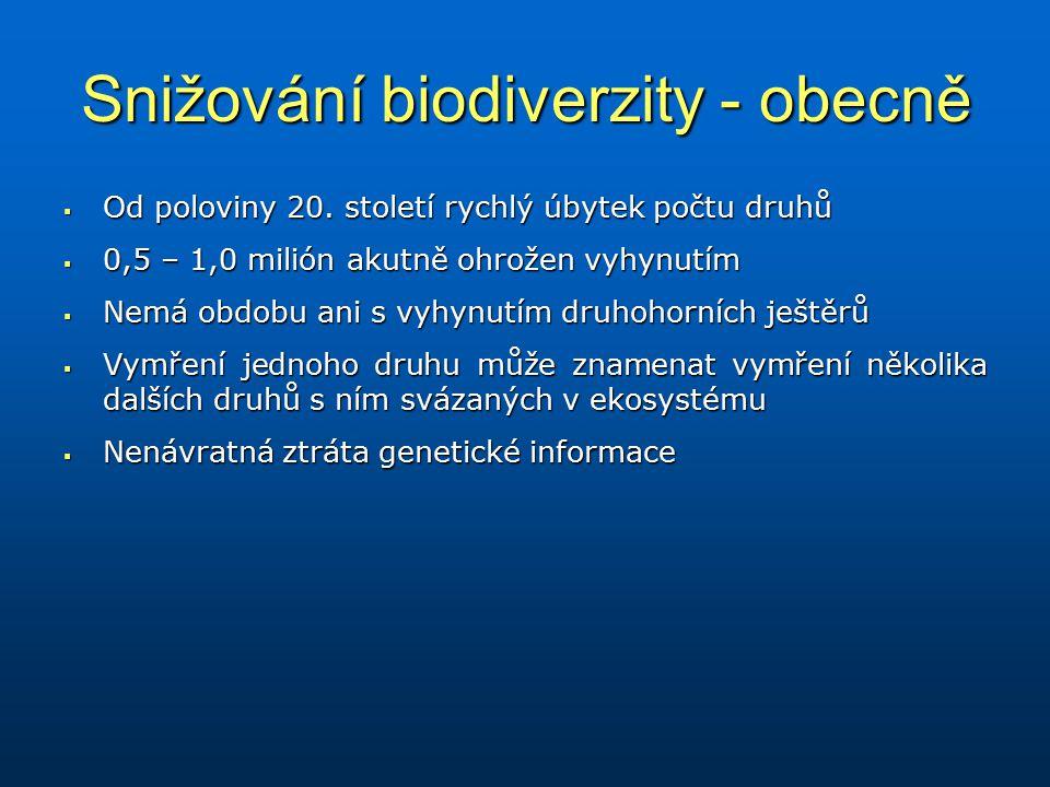 Snižování biodiverzity - obecně  Od poloviny 20. století rychlý úbytek počtu druhů  0,5 – 1,0 milión akutně ohrožen vyhynutím  Nemá obdobu ani s vy