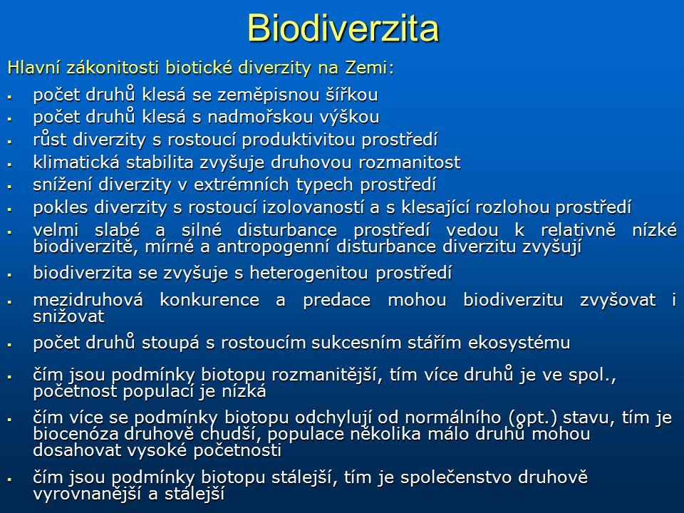 Biodiverzita Hlavní zákonitosti biotické diverzity na Zemi:  počet druhů klesá se zeměpisnou šířkou  počet druhů klesá s nadmořskou výškou  růst di