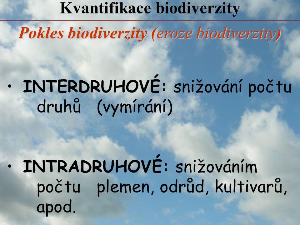 Kvantifikace biodiverzity INTERDRUHOVÉ: snižování počtu druhů (vymírání) INTRADRUHOVÉ: snižováním počtu plemen, odrůd, kultivarů, apod.