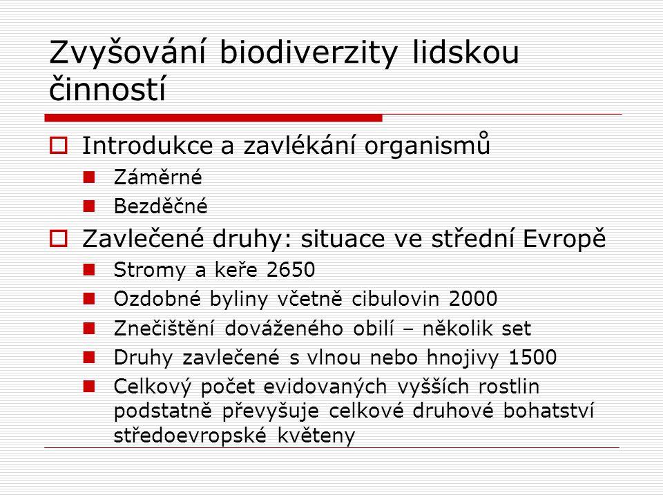 Zvyšování biodiverzity lidskou činností  Introdukce a zavlékání organismů Záměrné Bezděčné  Zavlečené druhy: situace ve střední Evropě Stromy a keře