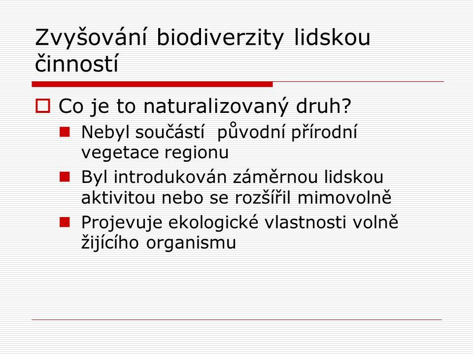 Zvyšování biodiverzity lidskou činností  Co je to naturalizovaný druh? Nebyl součástí původní přírodní vegetace regionu Byl introdukován záměrnou lid
