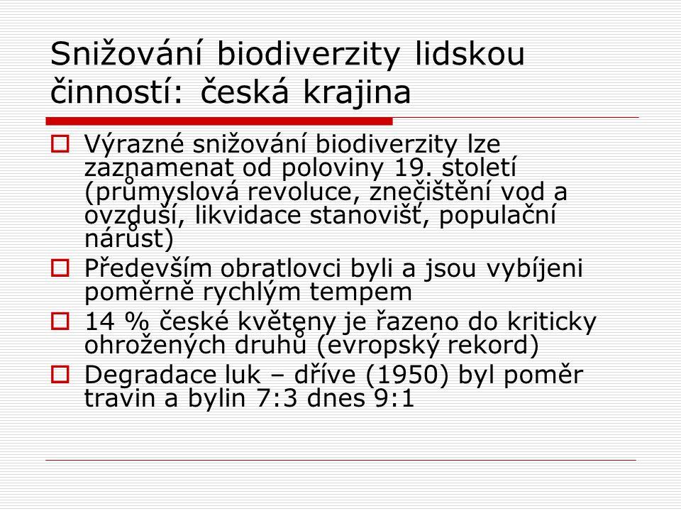 Snižování biodiverzity lidskou činností: česká krajina  Výrazné snižování biodiverzity lze zaznamenat od poloviny 19. století (průmyslová revoluce, z