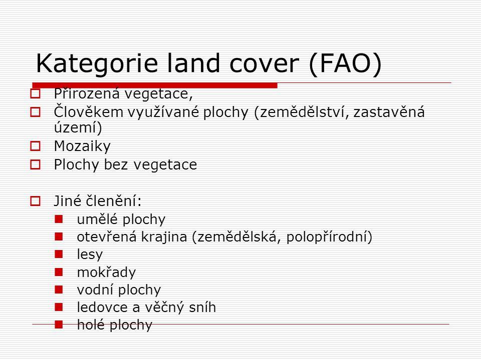 Kategorie land cover (FAO)  Přirozená vegetace,  Člověkem využívané plochy (zemědělství, zastavěná území)  Mozaiky  Plochy bez vegetace  Jiné čle