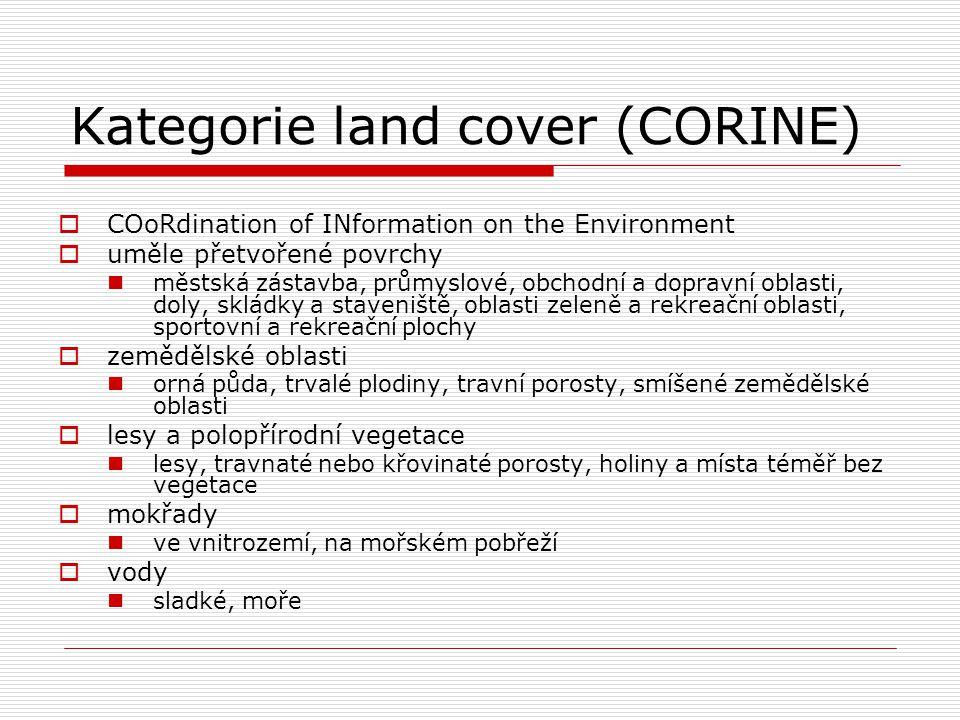 Kategorie land cover (CORINE)  COoRdination of INformation on the Environment  uměle přetvořené povrchy městská zástavba, průmyslové, obchodní a dop