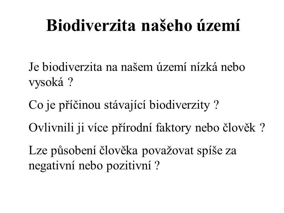 Je biodiverzita na našem území nízká nebo vysoká ? Co je příčinou stávající biodiverzity ? Ovlivnili ji více přírodní faktory nebo člověk ? Lze působe