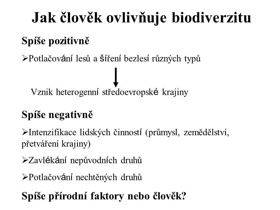 Jak člověk ovlivňuje biodiverzitu Spíše pozitivně  Potlačov á n í lesů a ší řen í bezles í různých typů Vznik heterogenn í středoevropsk é krajiny Sp