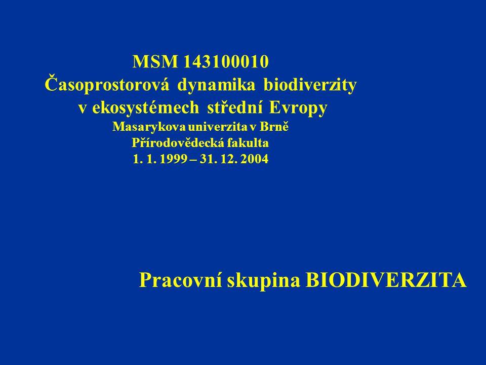 MSM 143100010 Časoprostorová dynamika biodiverzity v ekosystémech střední Evropy Masarykova univerzita v Brně Přírodovědecká fakulta 1. 1. 1999 – 31.