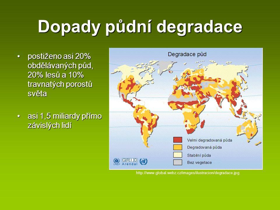 Dopady půdní degradace postiženo asi 20% obdělávaných půd, 20% lesů a 10% travnatých porostů světapostiženo asi 20% obdělávaných půd, 20% lesů a 10% t