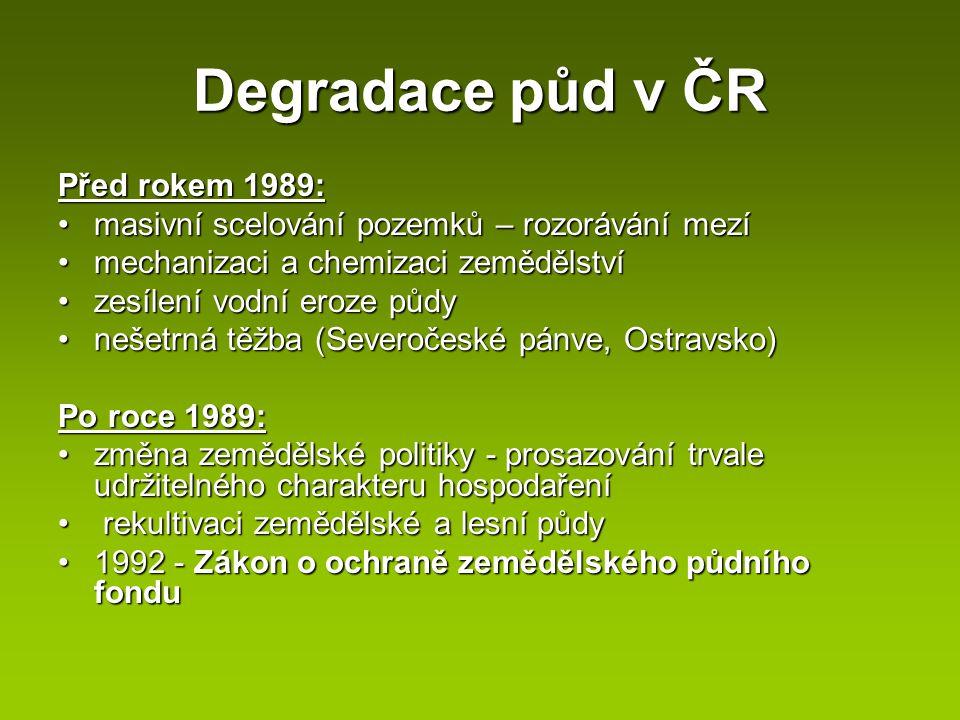Degradace půd v ČR Před rokem 1989: masivní scelování pozemků – rozorávání mezímasivní scelování pozemků – rozorávání mezí mechanizaci a chemizaci zem