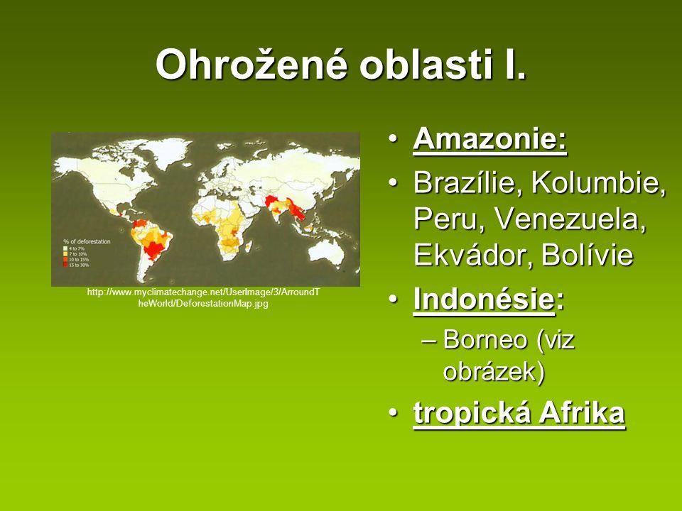 Ohrožené oblasti I. Amazonie:Amazonie: Brazílie, Kolumbie, Peru, Venezuela, Ekvádor, BolívieBrazílie, Kolumbie, Peru, Venezuela, Ekvádor, Bolívie Indo