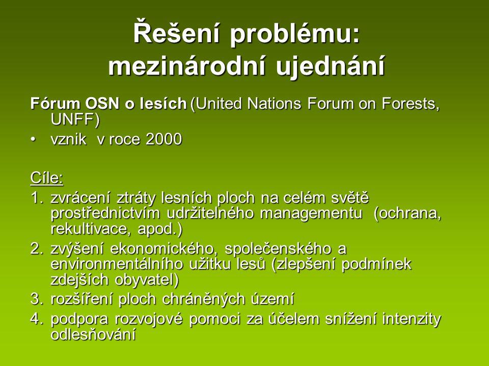 Řešení problému: mezinárodní ujednání Fórum OSN o lesích (United Nations Forum on Forests, UNFF) vznik v roce 2000vznik v roce 2000Cíle: 1.zvrácení zt