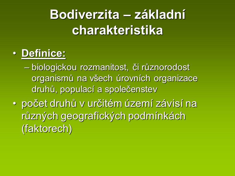 Bodiverzita – základní charakteristika Definice:Definice: –biologickou rozmanitost, či různorodost organismů na všech úrovních organizace druhů, popul