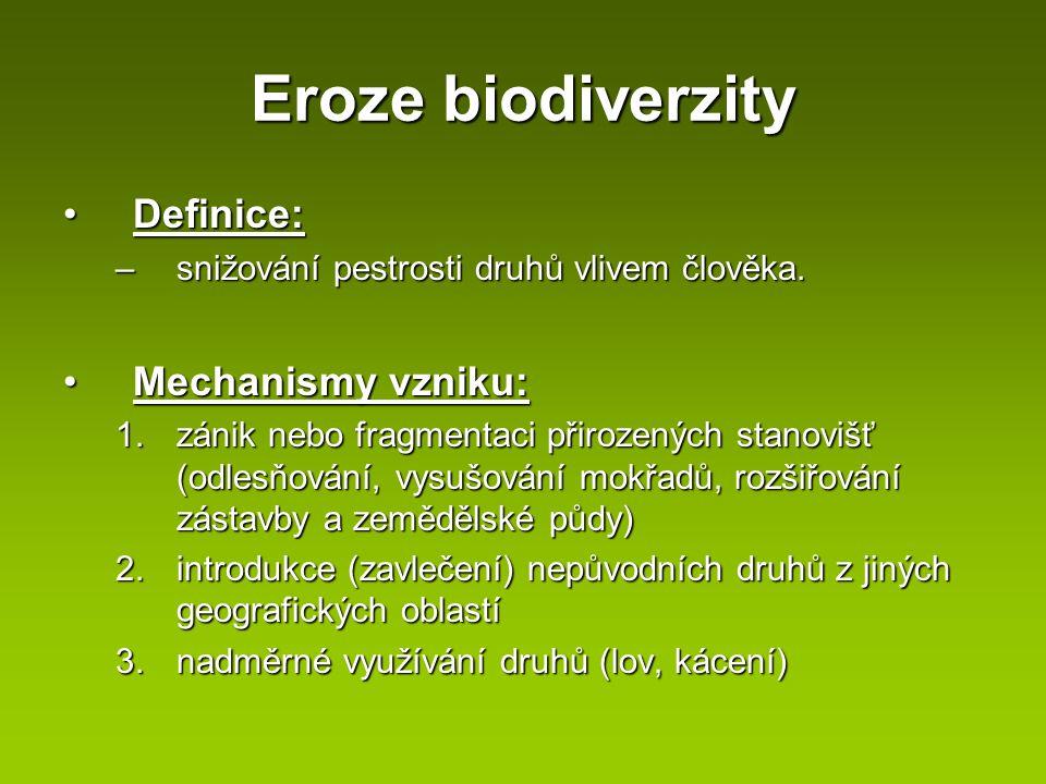 Eroze biodiverzity Definice:Definice: –snižování pestrosti druhů vlivemčlověka. –snižování pestrosti druhů vlivem člověka. Mechanismy vzniku:Mechanism
