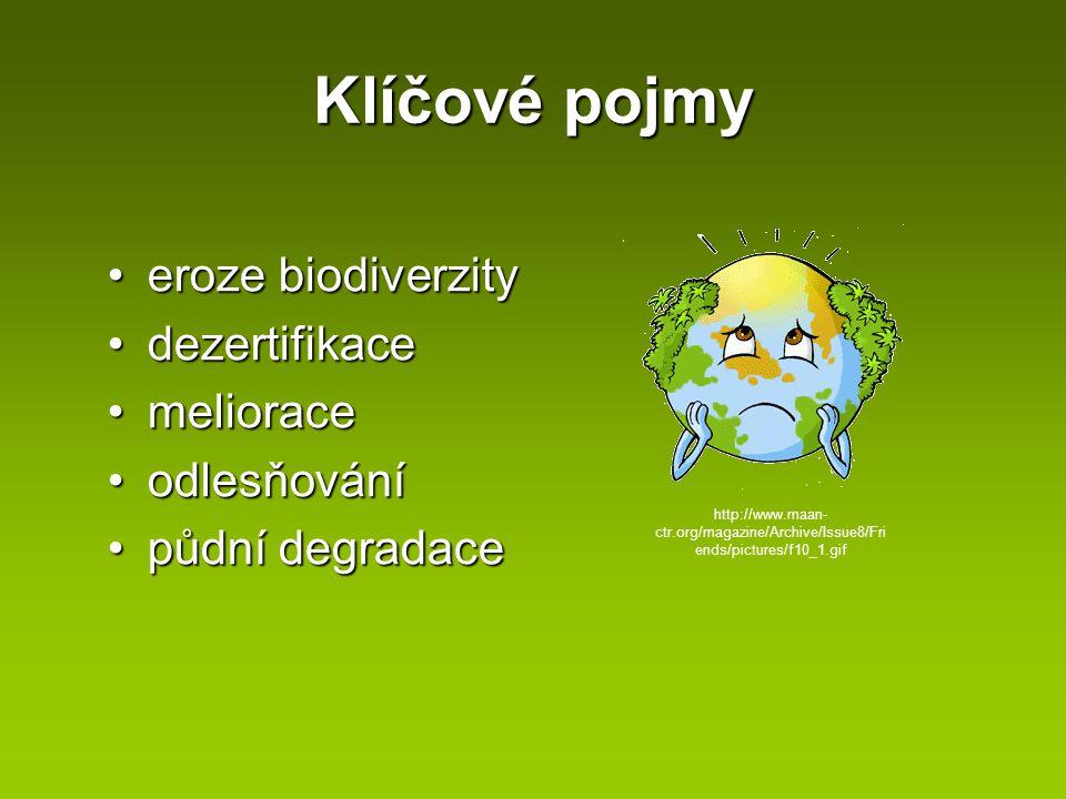 Klíčové pojmy eroze biodiverzityeroze biodiverzity dezertifikacedezertifikace melioracemeliorace odlesňováníodlesňování půdní degradacepůdní degradace